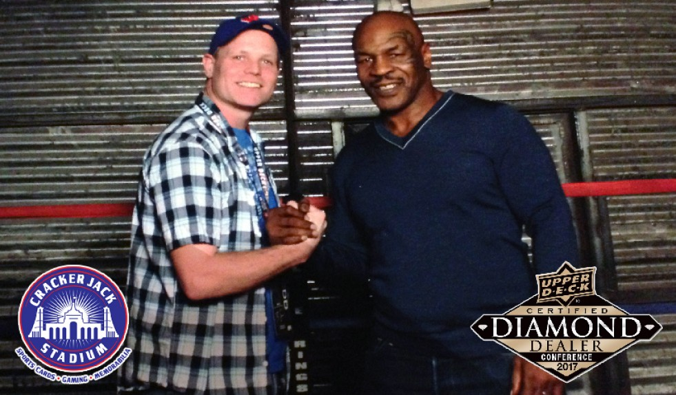 Crackerjack Stadium's Brad Noyes Gets In The Ring With Mike Tyson at Upper Deck Dealer Conference