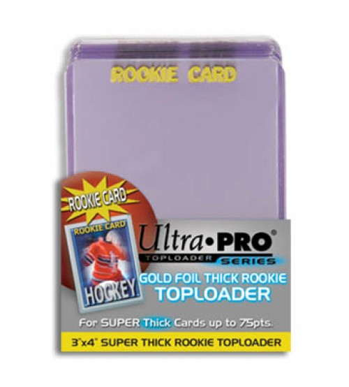 "Ultra PRO 3"" x 4"" Super Thick 75pt Rookie Gold Toploader, 25/Pack"