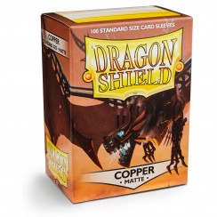 Dragon Shield Matte Copper Protective Card Sleeves in Deck Storage Box, 100/Pack