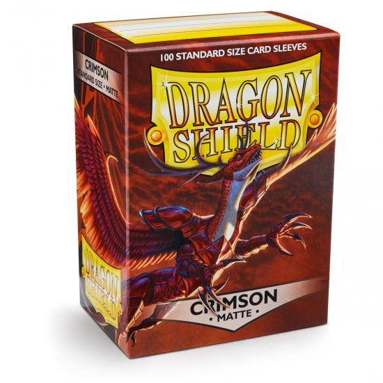 Dragon Shield Matte Crimson Protective Card Sleeves in Deck Storage Box, 100/Pack