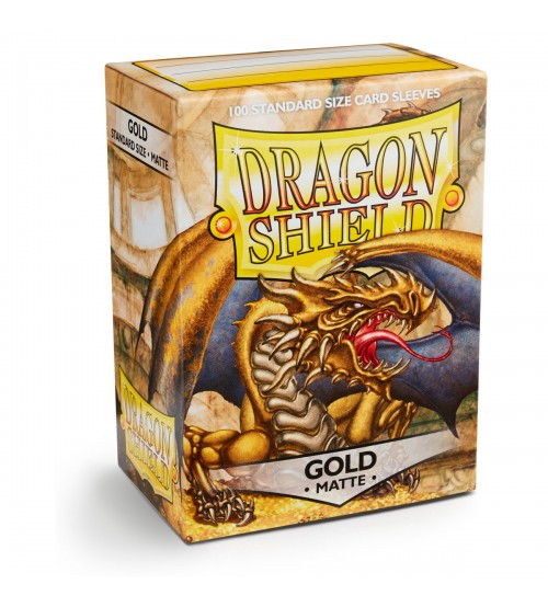 Dragon Shield Matte Gold Protective Card Sleeves in Deck Storage Box, 100/Pack
