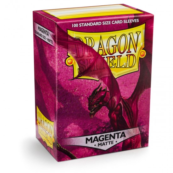 Dragon Shield Matte Magenta Protective Card Sleeves in Deck Storage Box, 100/Pack