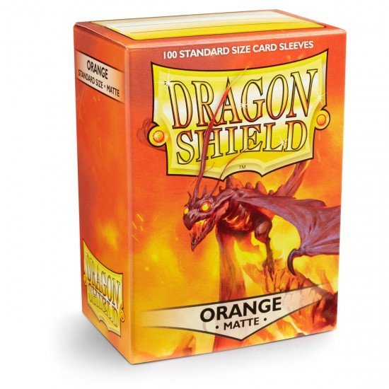 Dragon Shield Matte Orange Protective Card Sleeves in Deck Storage Box, 100/Pack