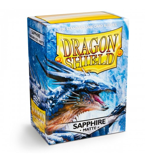 Dragon Shield Matte Sapphire Protective Card Sleeves in Deck Storage Box, 100/Pack