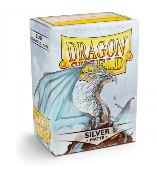 Dragon Shield Matte Silver Protective Card Sleeves in Deck Storage Box, 100/Pack