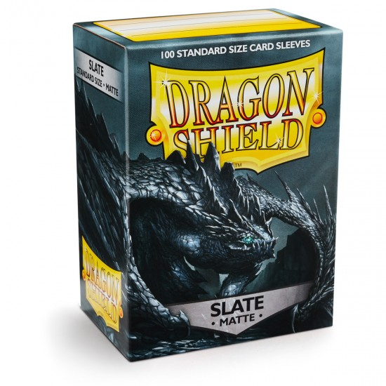 Dragon Shield Matte Slate Protective Card Sleeves in Deck Storage Box, 100/Pack