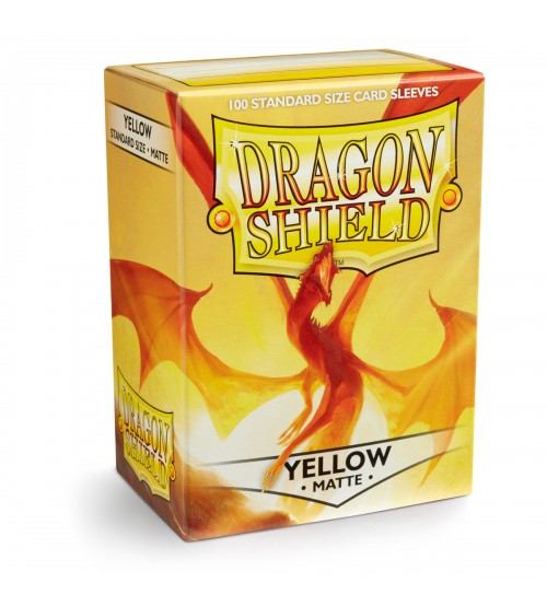 Dragon Shield Matte Yellow Protective Card Sleeves in Deck Storage Box, 100/Pack