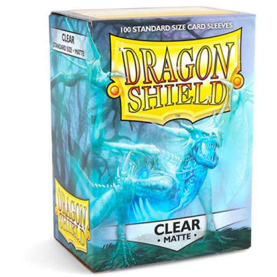 Dragon Shield Matte Clear Protective Card Sleeves in Deck Storage Box, 100/Pack