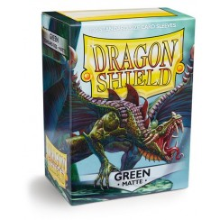Dragon Shield Matte Green Protective Card Sleeves in Deck Storage Box, 100/Pack