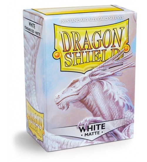 Dragon Shield Matte White Protective Card Sleeves in Deck Storage Box, 100/Pack