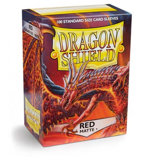 Dragon Shield Matte Red Protective Card Sleeves in Deck Storage Box, 100/Pack