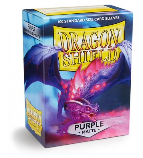 Dragon Shield Matte Purple Protective Card Sleeves in Deck Storage Box, 100/Pack