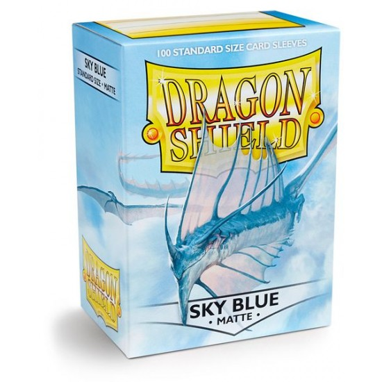 Dragon Shield Matte Sky Blue Protective Card Sleeves in Deck Storage Box, 100/Pack