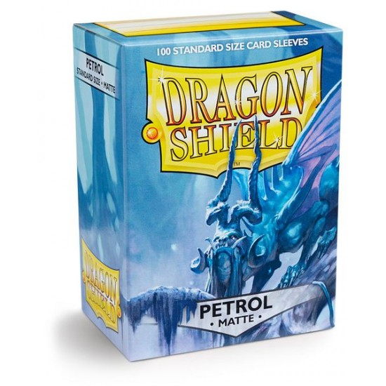 Dragon Shield Matte Petrol Protective Card Sleeves in Deck Storage Box, 100/Pack