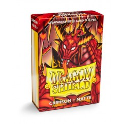 Dragon Shield Matte Crimson Japanese Protective Card Sleeves in Deck Storage Box, 60/Pack
