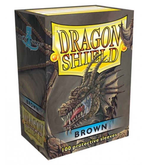 Dragon Shield Brown Protective Card Sleeves in Deck Storage Box, 100/Pack