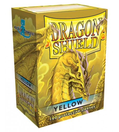 Dragon Shield Yellow Protective Card Sleeves in Deck Storage Box, 100/Pack