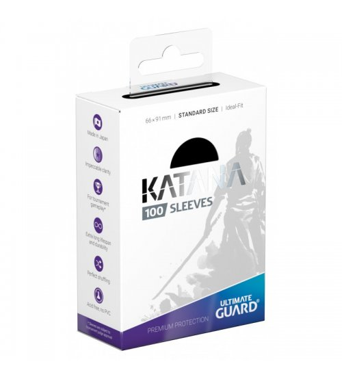 Ultimate Guard Katana Protective 100-Card Sleeves Standard Size, Black