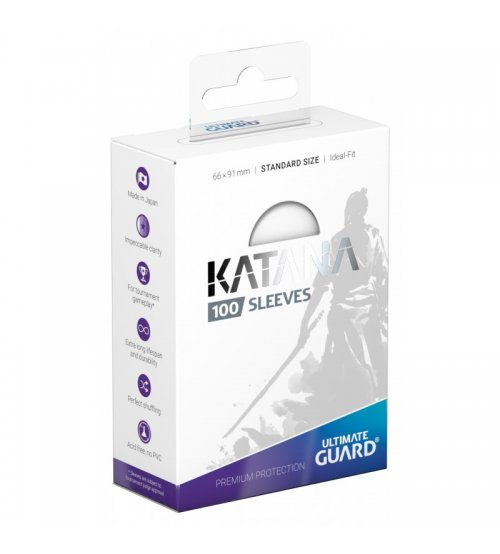Ultimate Guard Katana Protective 100-Card Sleeves Standard Size, White