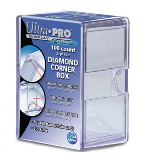 Ultra PRO Heavy Duty 2-Piece 100-Count Clear Diamond Corner Card Storage Box